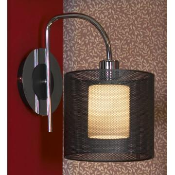Бра Lussole Loft Rovella LSF-1901-01, IP21, 1xE27x60W, хром, черный, металл, стекло