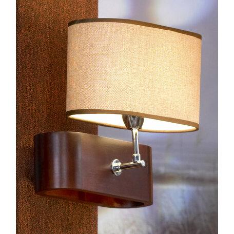 Бра Lussole Loft Nulvi LSF-2101-01, IP21, 1xE27x60W, коричневый, бежевый, дерево, текстиль