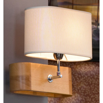 Бра Lussole Loft Nulvi LSF-2111-01, IP21, 1xE27x60W, коричневый, белый, дерево, текстиль