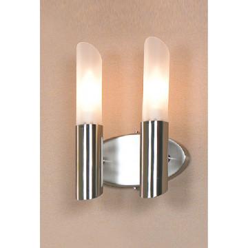 Бра Lussole Lano LSC-2801-02, IP21, 2xE14x40W, никель, белый, металл, стекло