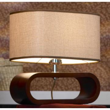 Настольная лампа Lussole Loft Nulvi LSF-2104-01, IP21, 1xE27x60W, коричневый, бежевый, дерево, текстиль