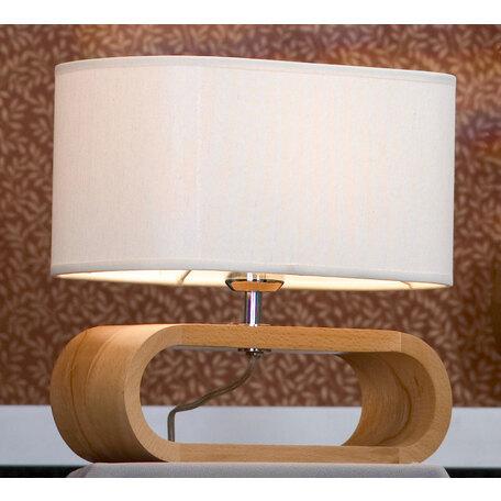 Настольная лампа Lussole Loft Nulvi LSF-2114-01, IP21, 1xE27x60W, коричневый, белый, дерево, текстиль