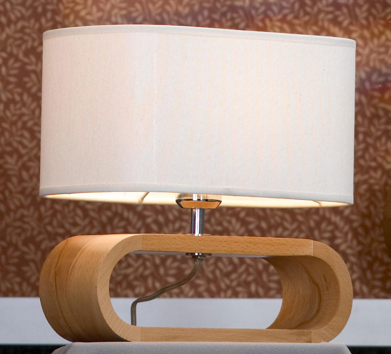 Настольная лампа Lussole Loft Nulvi LSF-2114-01, IP21, 1xE27x60W, коричневый, белый, дерево, текстиль - фото 1