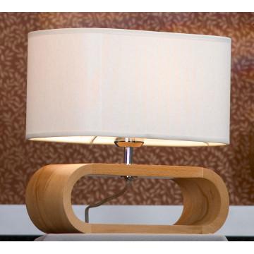Настольная лампа Lussole Loft Nulvi LSF-2114-01, IP21, 1xE27x60W, коричневый, белый, дерево, текстиль - миниатюра 2
