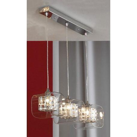 Подвесной светильник Lussole Loft Sorso LSC-8006-03, IP21, 3xG9x40W, хром, прозрачный, металл, стекло