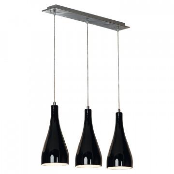 Подвесной светильник Lussole Loft Rimini LSF-1196-03, IP21, 3xE27x60W, хром, черный, металл, стекло