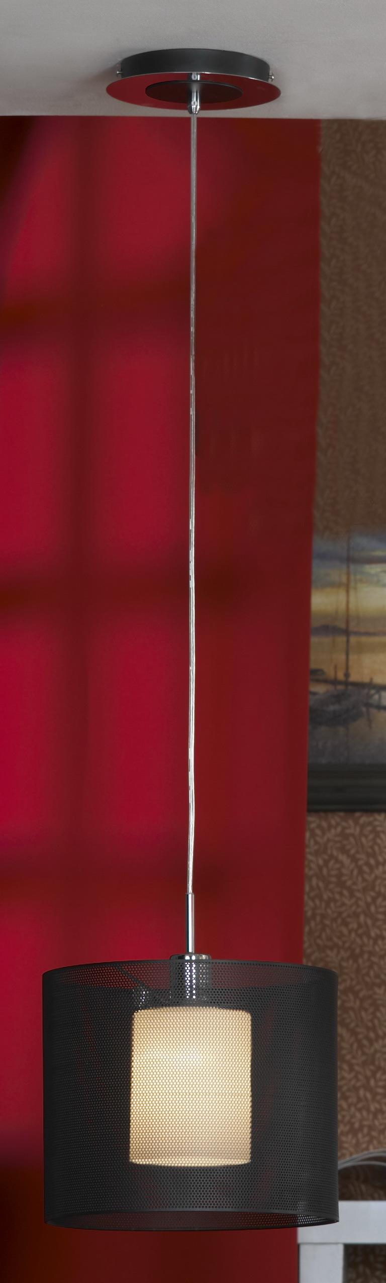 Подвесной светильник Lussole Loft Rovella LSF-1916-01, IP21, 1xE27x60W, хром, черный, металл - фото 1