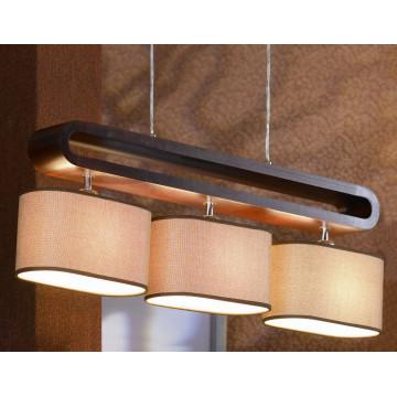 Подвесной светильник Lussole Loft Nulvi LSF-2103-03, IP21, 3xE27x60W, коричневый, бежевый, дерево, текстиль