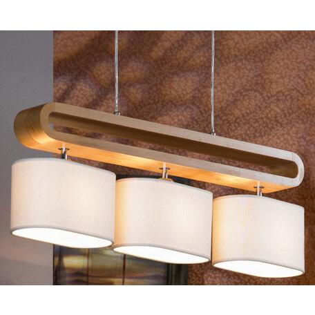 Подвесной светильник Lussole Loft Nulvi LSF-2113-03, IP21, 3xE27x60W, коричневый, белый, дерево, текстиль