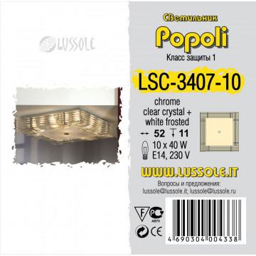 Потолочная люстра Lussole Loft Popoli LSC-3407-10, IP21, 10xE14x40W, хром, прозрачный, металл, стекло - миниатюра 2