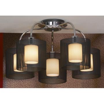 Потолочная люстра Lussole Loft Rovella LSF-1903-05, IP21, 5xE27x60W, хром, черный, металл