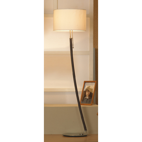 Торшер Lussole Silvi LSC-7105-01, IP21, 1xE27x60W, коричневый, никель, бежевый, металл, текстиль - миниатюра 1