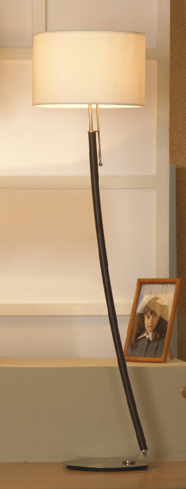Торшер Lussole Silvi LSC-7105-01, IP21, 1xE27x60W, коричневый, никель, бежевый, металл, текстиль - фото 1