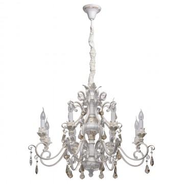 Подвесная люстра Chiaro Версаче 639012608, белый, матовое золото, коньячный, металл, пластик, хрусталь