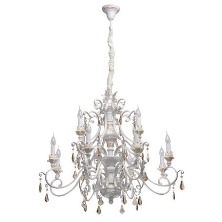 Подвесная люстра Chiaro Версаче 639012712, белый, матовое золото, коньячный, металл, пластик, хрусталь