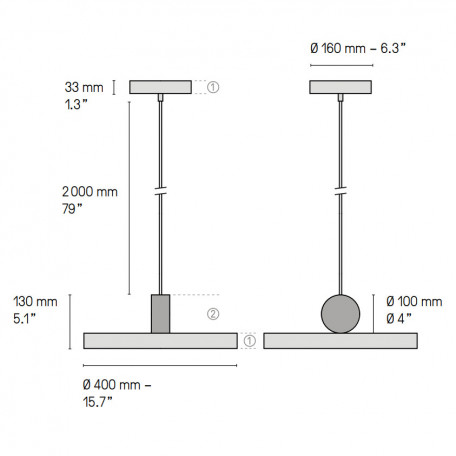 Схема с размерами LUSTRAM CALE PENDANT V4 40