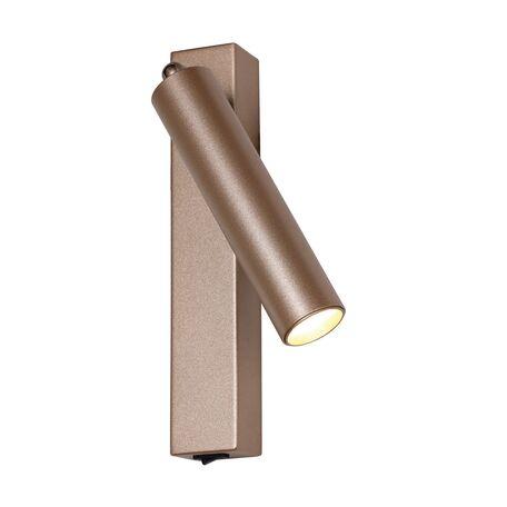 Настенный светодиодный светильник Favourite Specimen 2228-1W, LED 7W 4000K, коричневый, матовое золото, металл