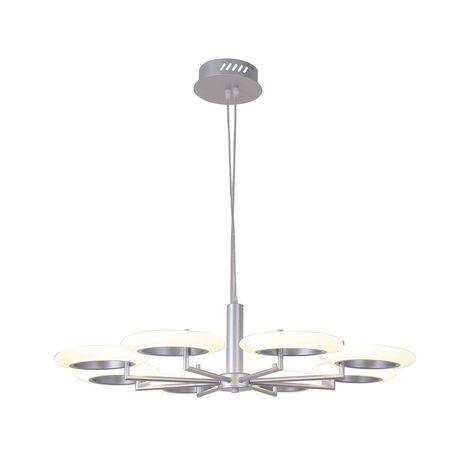 Подвесная светодиодная люстра Favourite Annuli 2208-8P, LED 64W, 3000K (теплый), серебро, белый, металл, пластик