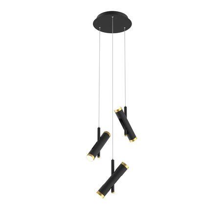 Подвесная светодиодная люстра с регулировкой направления света Favourite Duplex 2324-6P, LED 18W, 4000K (дневной), черный, матовое золото, металл