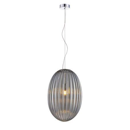 Подвесной светильник Favourite Ovum 2181-1P, 1xE27x60W, хром, дымчатый, металл, стекло