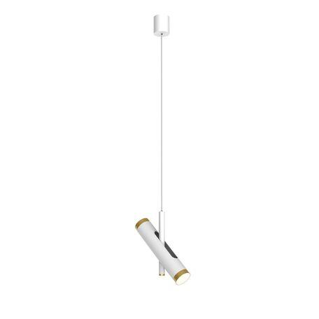 Подвесной светодиодный светильник с регулировкой направления света Favourite Duplex 2323-2P, LED 6W 4000K, белый, матовое золото, металл