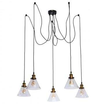 Люстра-паук De Markt Фьюжн 392017805, 5xE27x40W, бронза, черный, прозрачный, металл, стекло