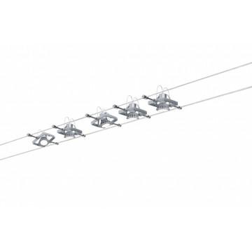 Тросовая система освещения Paulmann Mac II 94133, 5xGU5.3x10W, матовый хром, металл, пластик