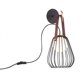 Бра Maytoni Indiana MOD544WL-01B, 1xG9x28W, черный, коричневый, кожа/кожзам, металл со стеклом
