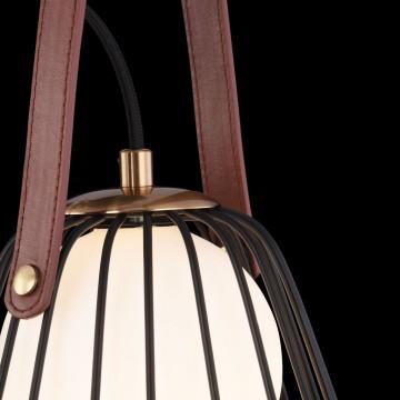 Бра Maytoni Indiana MOD544WL-01B, 1xG9x28W, коричневый, матовое золото, черный, белый, кожа/кожзам, металл, стекло - миниатюра 5
