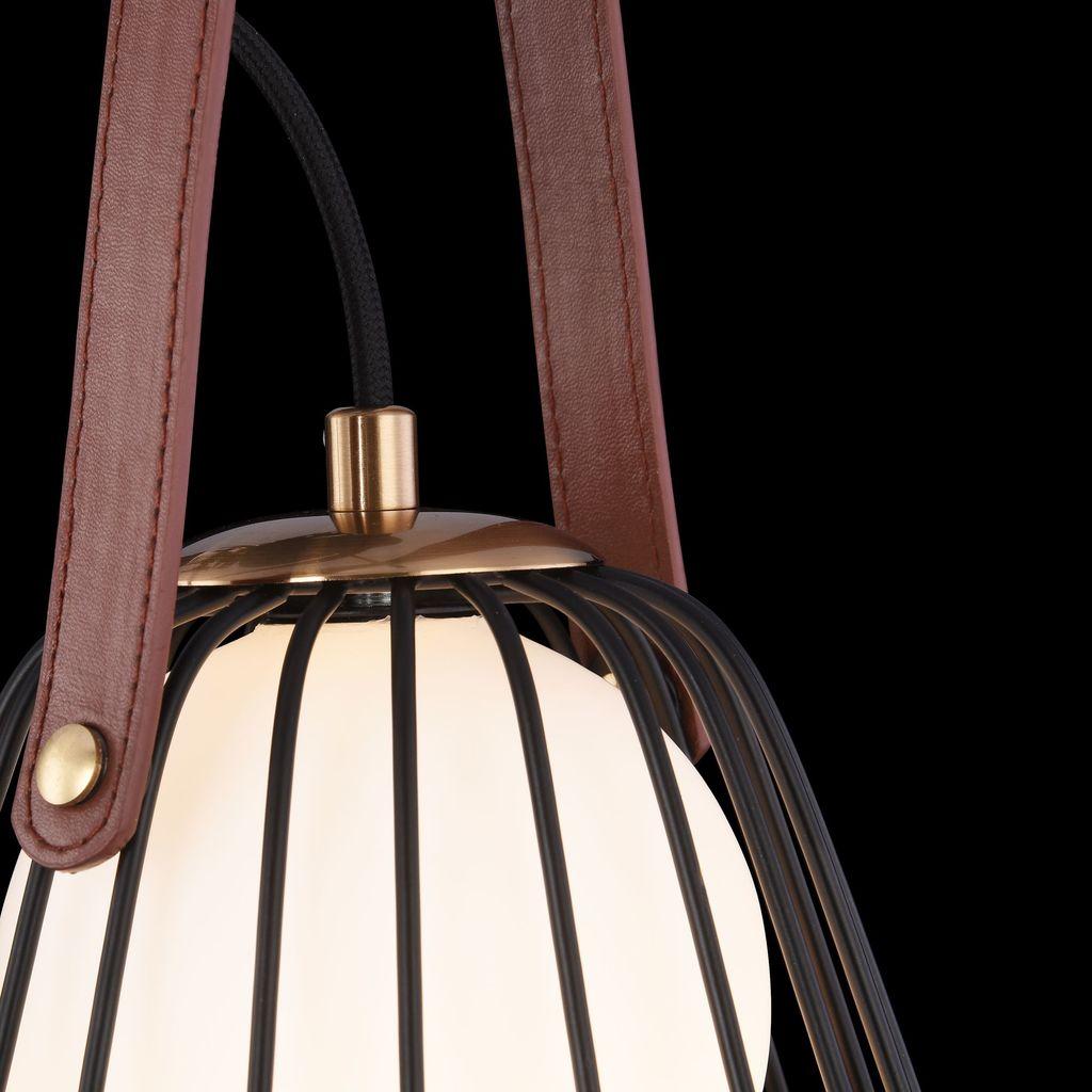 Бра Maytoni Indiana MOD544WL-01B, 1xG9x28W, коричневый, матовое золото, черный, белый, кожа/кожзам, металл, стекло - фото 5