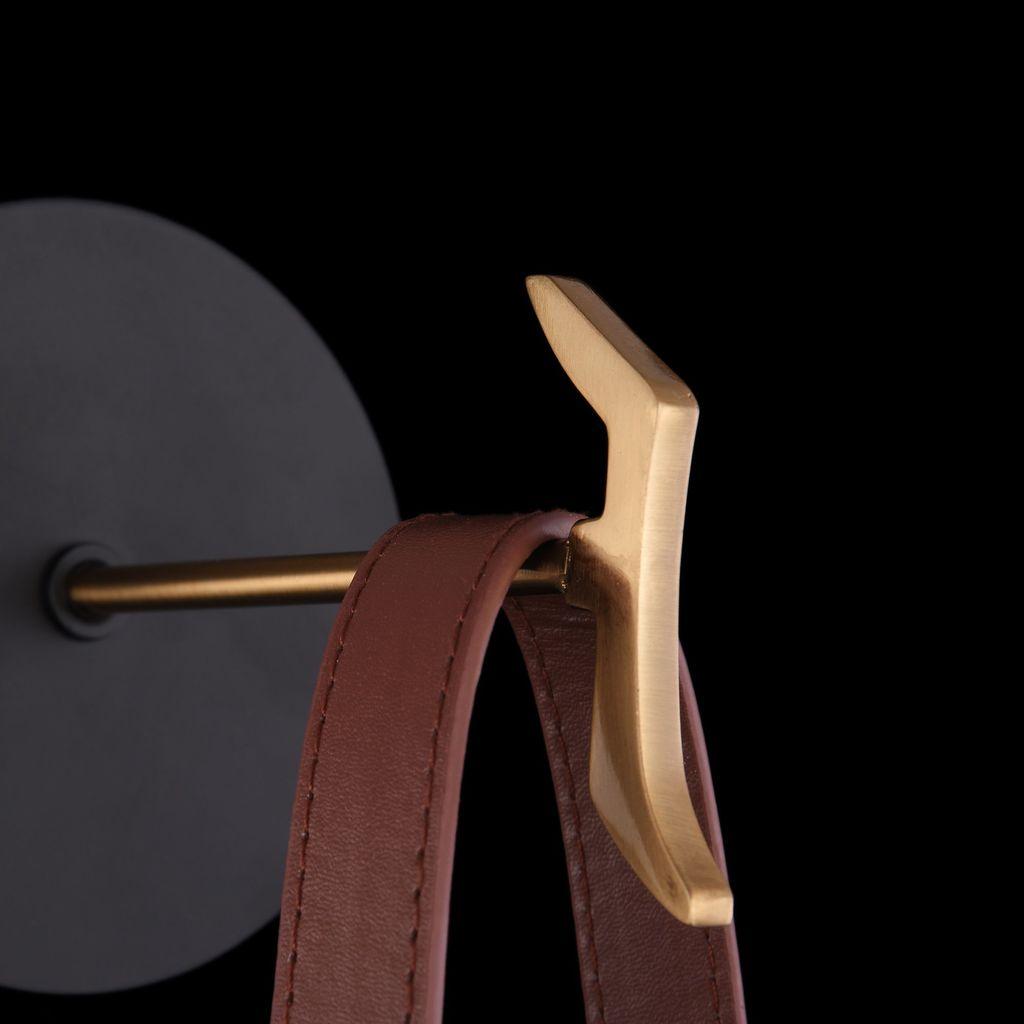 Бра Maytoni Indiana MOD544WL-01B, 1xG9x28W, коричневый, матовое золото, черный, белый, кожа/кожзам, металл, стекло - фото 6