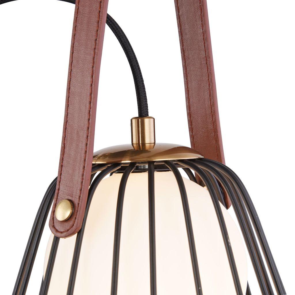 Бра Maytoni Indiana MOD544WL-01B, 1xG9x28W, коричневый, матовое золото, черный, белый, кожа/кожзам, металл, стекло - фото 8