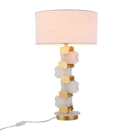 Настольная лампа Maytoni Valencia H601TL-01BS, 1xE27x60W, белый, латунь, металл, текстиль