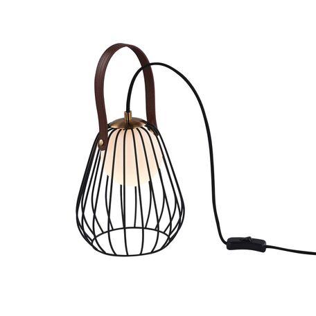 Настольная лампа Maytoni Indiana MOD544TL-01B, 1xG9x28W, белый, коричневый, матовое золото, черный, кожа/кожзам, металл, стекло