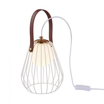 Настольная лампа Maytoni Indiana MOD544TL-01W, 1xG9x28W, белый, коричневый, матовое золото, кожа/кожзам, металл со стеклом