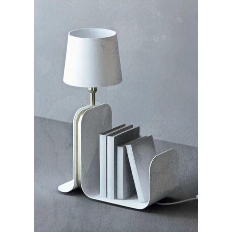 Настольная лампа с полкой Maytoni Modern Karl MOD618TL-01W, 1xE27x60W, белый, матовое золото, металл, текстиль