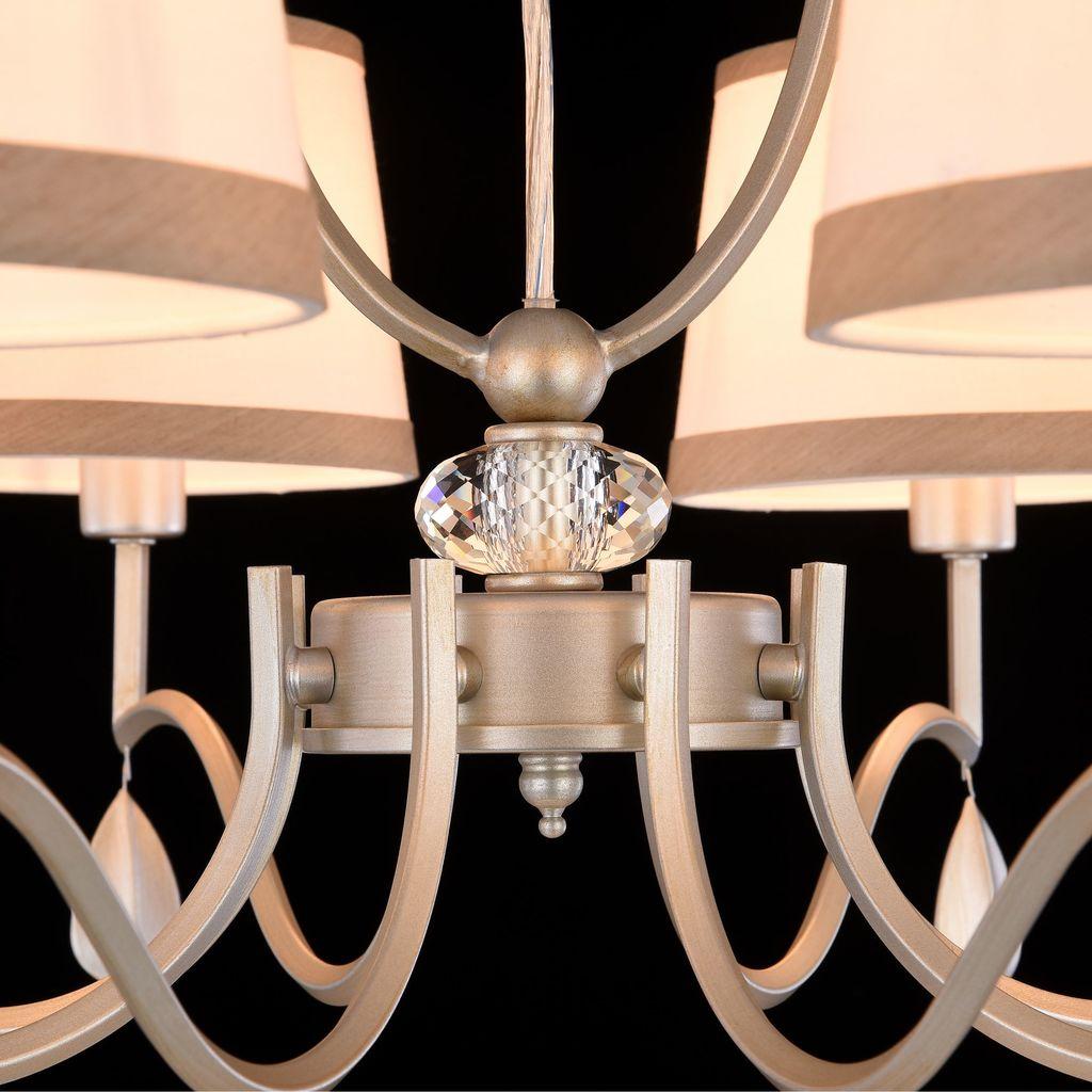 Подвесная люстра Freya Teona FR5538PL-08BR, 8xE14x40W, серебро, белый, металл, текстиль - фото 8