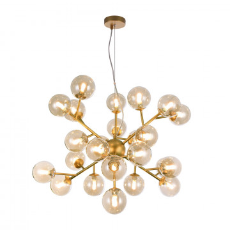 Подвесная люстра Maytoni Dallas MOD545PL-24G, 24xG9x28W, матовое золото, янтарь, металл, стекло