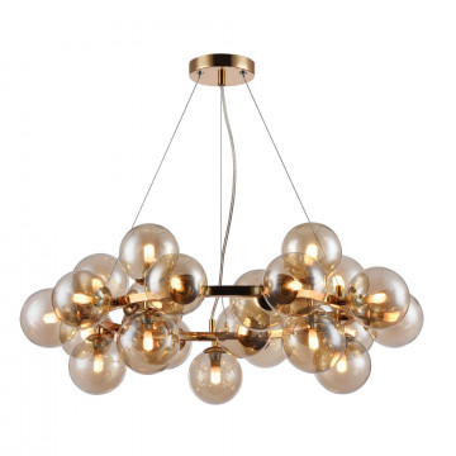 Подвесная люстра Maytoni Dallas MOD548PL-25G, 25xG9x28W, золото, янтарь, металл, стекло