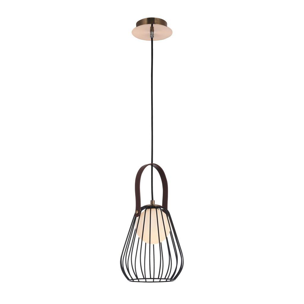 Подвесной светильник Maytoni Indiana MOD544PL-01B, 1xG9x28W, коричневый, матовое золото, черный, белый, кожа/кожзам, металл, стекло - фото 1