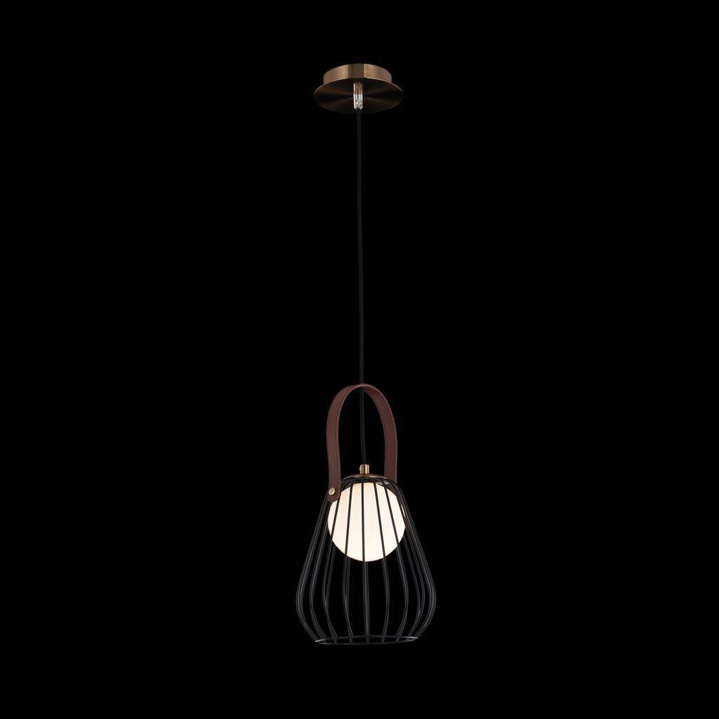 Подвесной светильник Maytoni Indiana MOD544PL-01B, 1xG9x28W, коричневый, матовое золото, черный, белый, кожа/кожзам, металл, стекло - фото 3