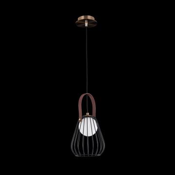 Подвесной светильник Maytoni Indiana MOD544PL-01B, 1xG9x28W, коричневый, матовое золото, черный, белый, кожа/кожзам, металл, стекло - миниатюра 4