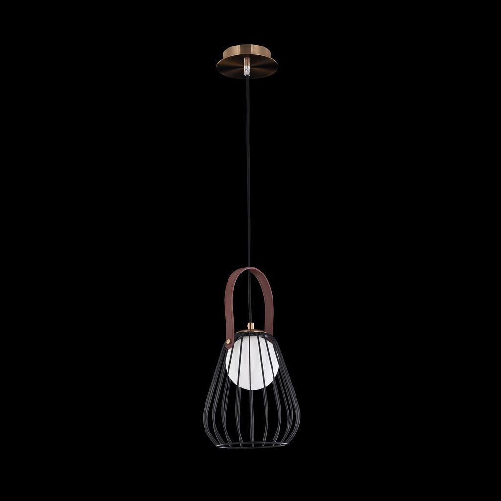 Подвесной светильник Maytoni Indiana MOD544PL-01B, 1xG9x28W, коричневый, матовое золото, черный, белый, кожа/кожзам, металл, стекло - фото 4