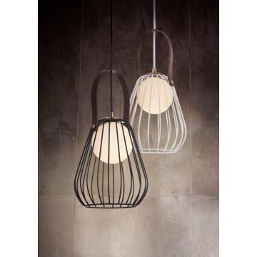 Подвесной светильник Maytoni Indiana MOD544PL-01B, 1xG9x28W, коричневый, матовое золото, черный, белый, кожа/кожзам, металл, стекло - миниатюра 5