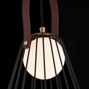 Подвесной светильник Maytoni Indiana MOD544PL-01B, 1xG9x28W, коричневый, матовое золото, черный, белый, кожа/кожзам, металл, стекло - миниатюра 6