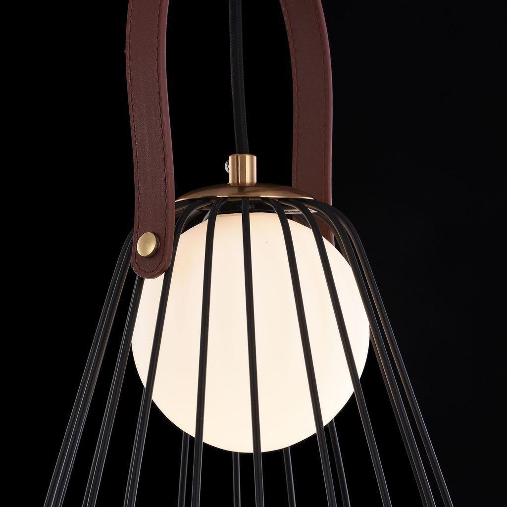 Подвесной светильник Maytoni Indiana MOD544PL-01B, 1xG9x28W, коричневый, матовое золото, черный, белый, кожа/кожзам, металл, стекло - фото 6