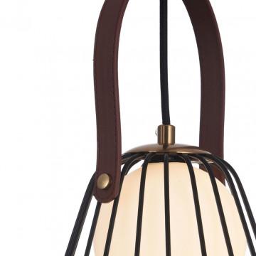 Подвесной светильник Maytoni Indiana MOD544PL-01B, 1xG9x28W, коричневый, матовое золото, черный, белый, кожа/кожзам, металл, стекло - миниатюра 8