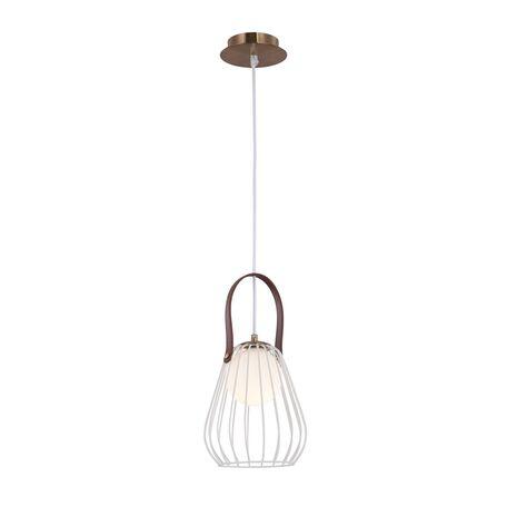 Подвесной светильник Maytoni Indiana MOD544PL-01W, 1xG9x28W, белый, коричневый, матовое золото, кожа/кожзам, металл, стекло