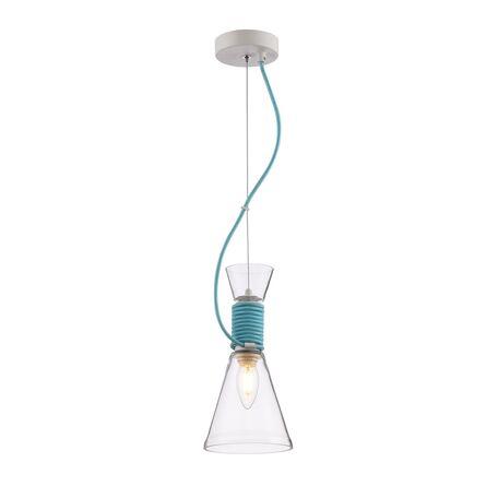 Подвесной светильник Maytoni Modern California P536PL-01BL, 1xE14x40W, белый, голубой, прозрачный, металл, стекло