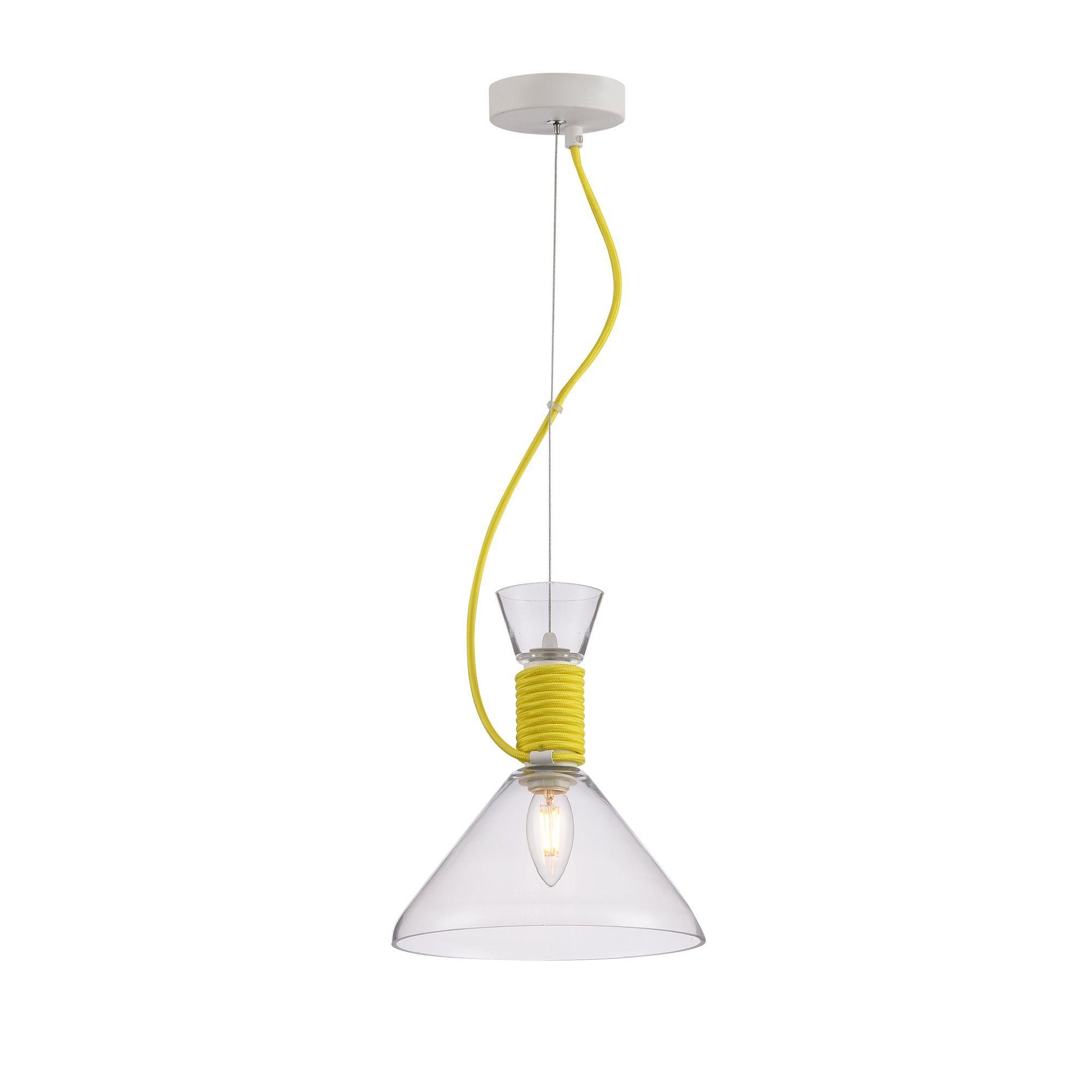 Подвесной светильник Maytoni Modern California P536PL-01YW, 1xE14x40W, белый, желтый, прозрачный, металл, стекло - фото 1